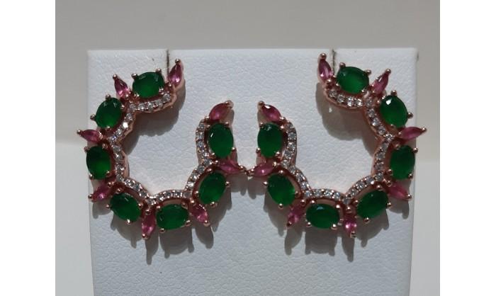 Pendientes plata rosé con granates esmeraldas circonitas 225_PPBR34400