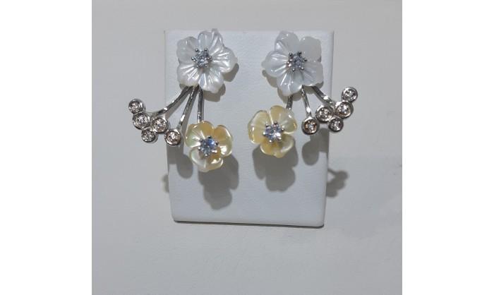 Pendientes plata rodio flor nácar blanco crema 225_PPBR37261
