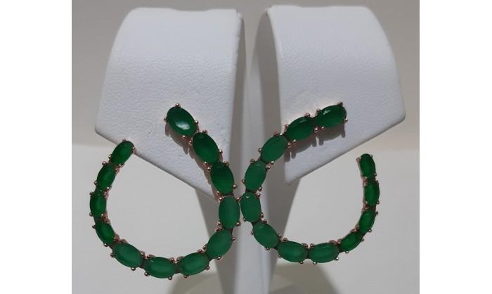 Pendientes plata rosé con esmeraldas 225_PPBR34670
