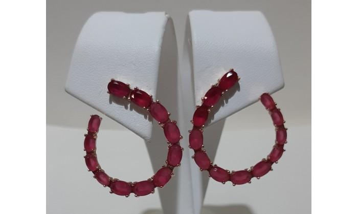 Pendientes plata rosé con granates 225_PPBR34671