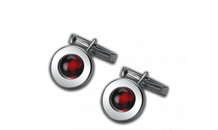 Gemelos circulares en plata c/ piedra roja 1MO-021254-V