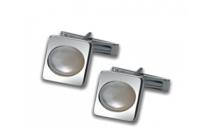 Gemelos cuadrados en plata c/ piedra blanca 1MO-021260