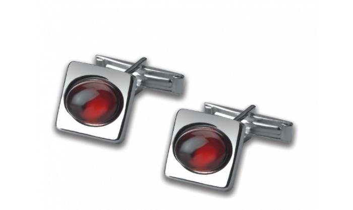 Gemelos cuadrados en plata c/ piedra roja 1MO-021260-V