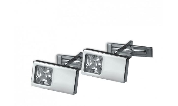 Gemelos rectangulares en plata c/ piedra blanca 1MO-021281