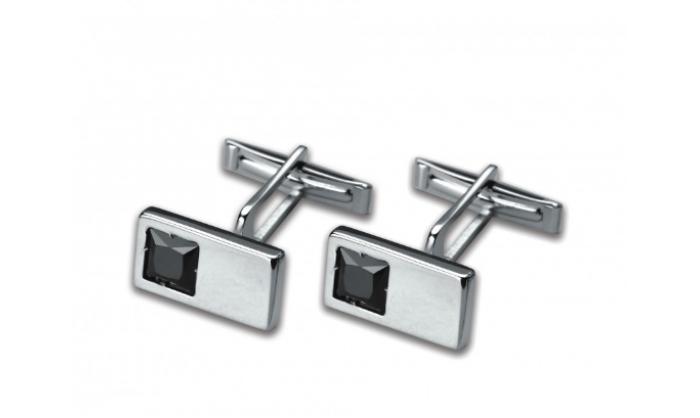 Gemelos rectangulares en plata c/ piedra negra 1MO-021281-P