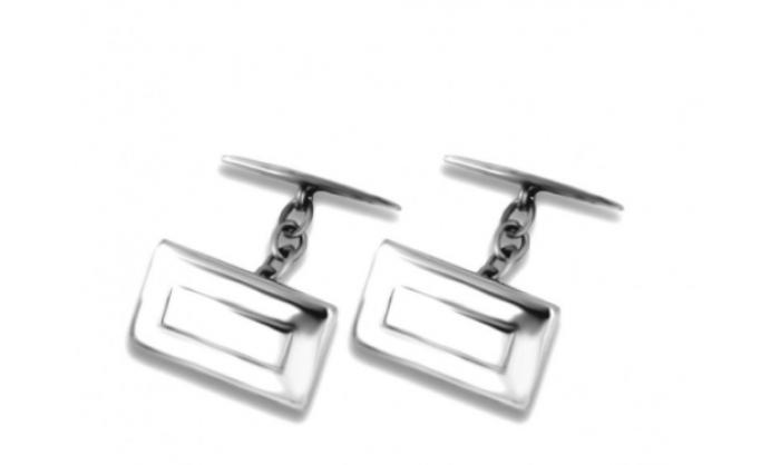 Gemelos rectangulares en plata c/ piedra blanca 1MO-BA001
