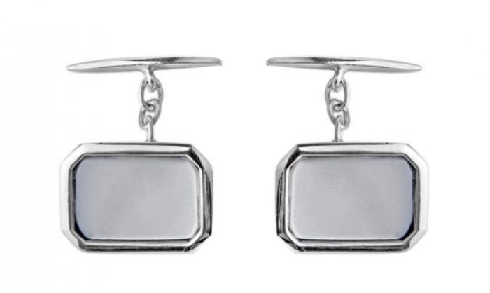 Gemelos en plata rectangulares c/madreperla 1MO-BA020