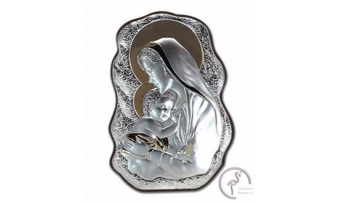 Cuadro Virgen con niño Jesús en plata 4QD-DH-V2901.12O