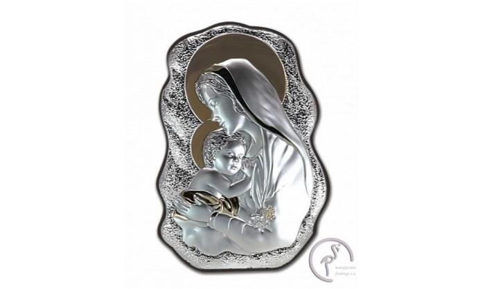 Cuadro Virgen con niño Jesús en plata 4QD-DH-V2901.24O