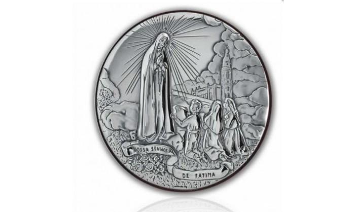 Cuadro redondo en plata Aparición de la Virgen de Fátima 4QD-DHM0010.3