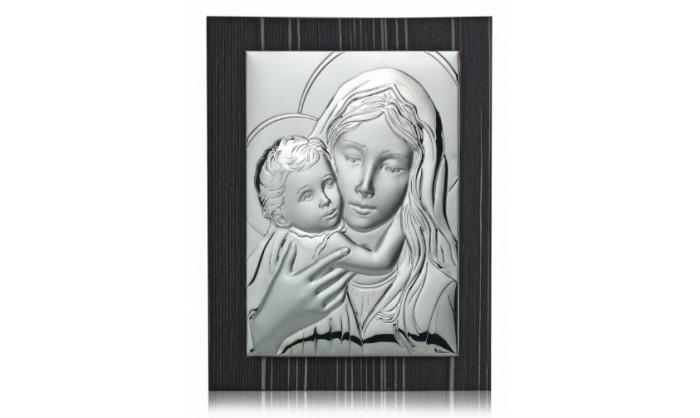 Cuadro cóncavo Virgen con niño Jesús en plata 4QD-DHSR400.1