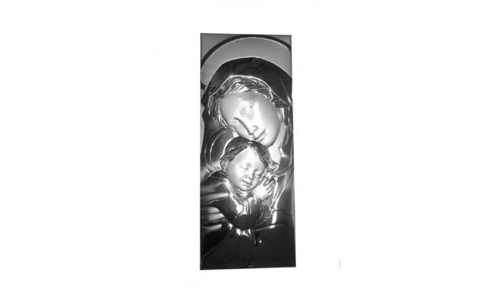 Cuadro Virgen con niño Jesús en plata 4QD-LE099740