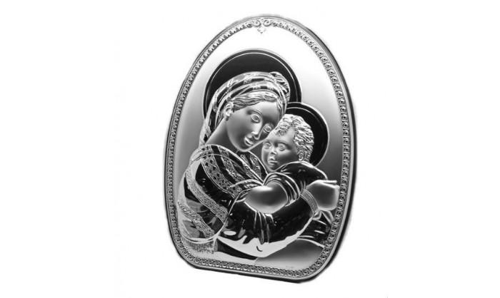 Cuadro Virgen con niño Jesús en plata 4QD-STAD1712.3S
