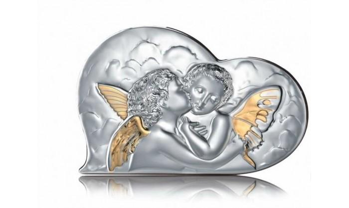 Cuadro en forma de corazón con ángeles en plata 4QD-STAD1852.2
