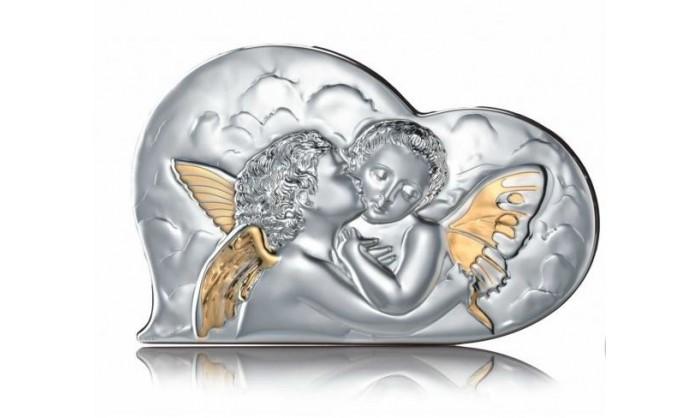 Cuadro en forma de corazón con ángeles en plata 4QD-STAD1852.3