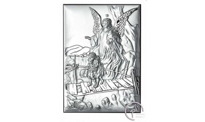 Cuadro con ángel de la guarda en plata 4QD-VL18011.4L