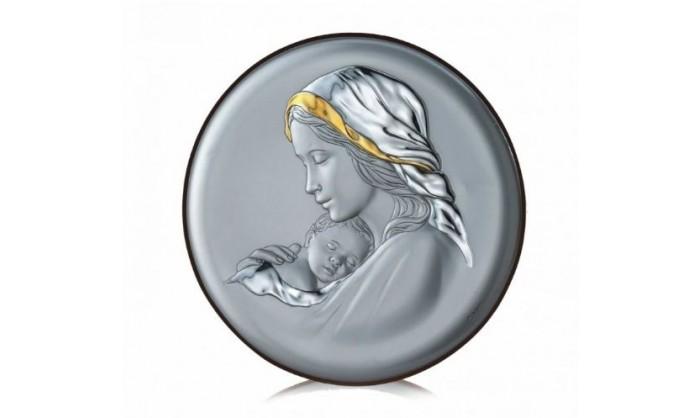 Cuadro redondo Virgen con niño Jesús en plata 4QD-VL18017.4L