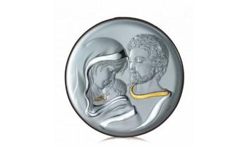 Cuadro ovalado Sagrada Familia en plata 4QD-STAD1855.4