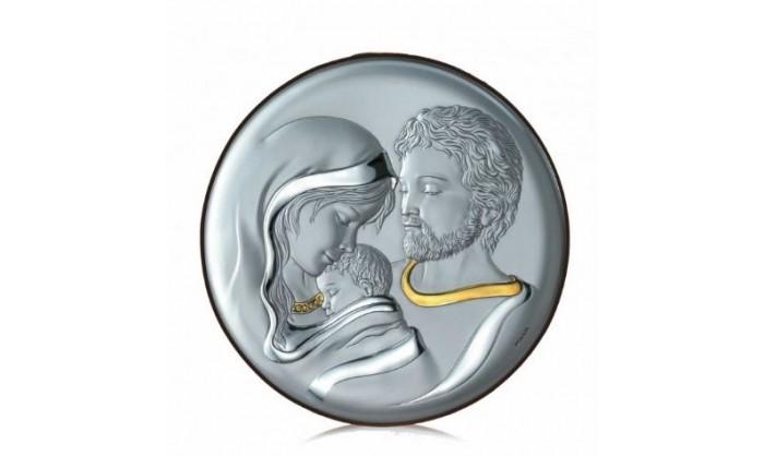 Cuadro redondo Sagrada Familia en plata 4QD-VL18018.3L