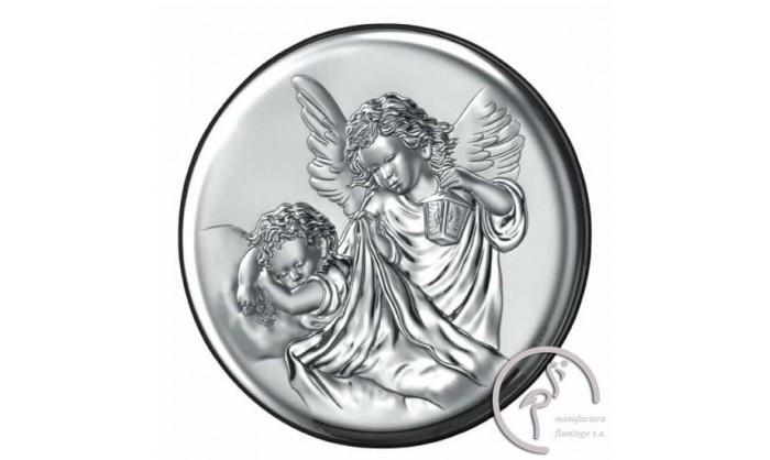 Cuadro redondo con ángel en plata 4QD-VL18023.3L