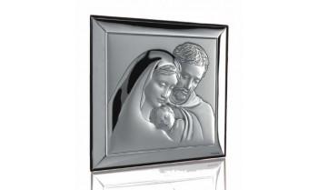 Cuadro Sagrada Familia en plata 4QD-DHSR550.1