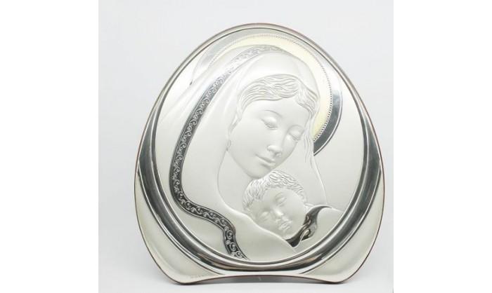 Cuadro Virgen con niño Jesús en plata 4QD-VL8003.5