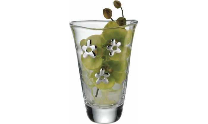 Jarrón cristal 3 flores plata 4CS-DH-A16243