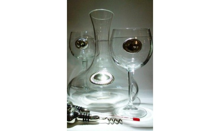Decantador vino cristal y plata 104_15000P