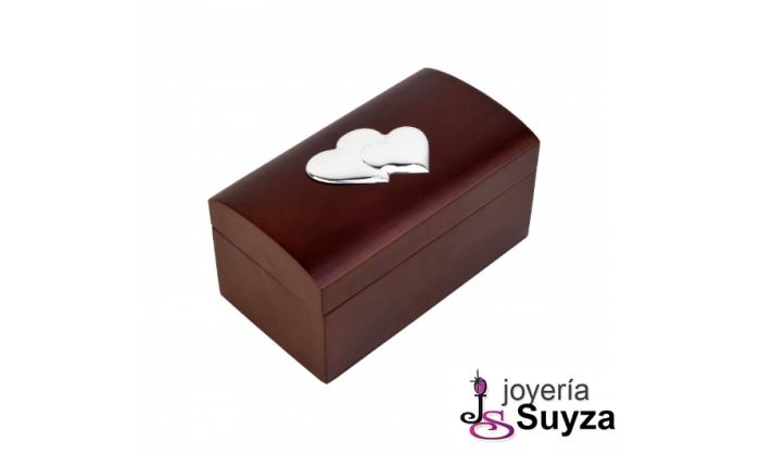 Joyero de madera con corazones en plata 4CX-DH0101