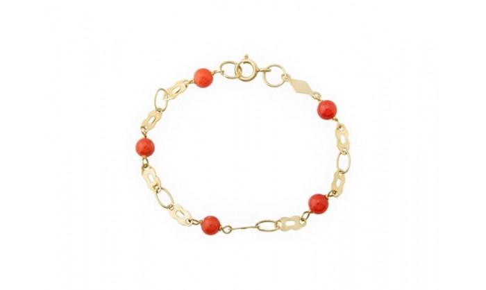 2a1a118510a9 Pulsera en oro con perlas rojas 212 70134PU