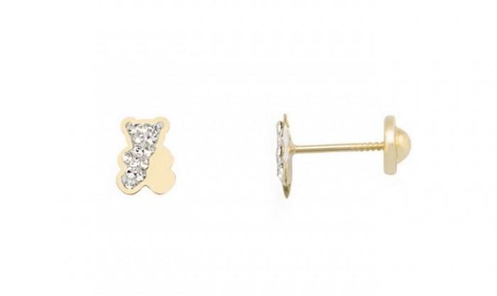 Pendientes oso en Oro con circonitas 212_55412-P/A/CI