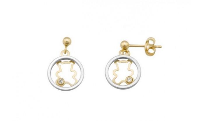Pendientes circular con oso en oro 212_55765-P/X/CI