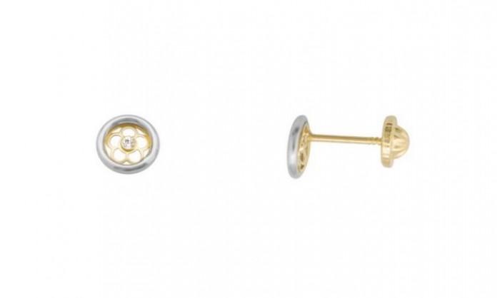 Pendientes circular con flor en oro 212_55770-P/X/CI