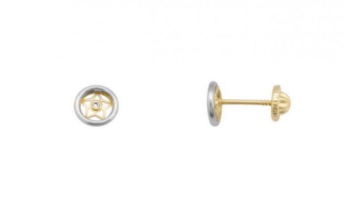 Pendientes circular con estrella en oro 212_55771-P/X/CI