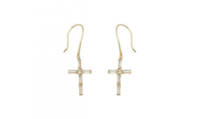 Pendientes cruz en Oro con circonitas 212_55824-P/A/CI
