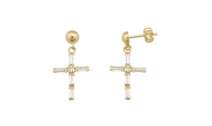 Pendientes cruz en Oro con circonitas  212_55825-P/A/CI