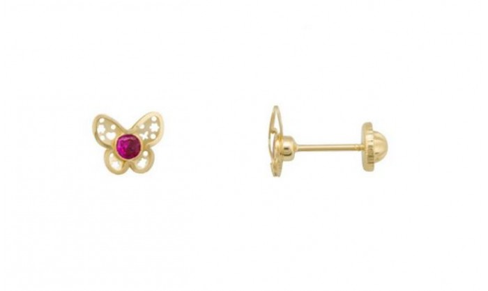 Pendientes mariposa calada en Oro 18 Kl con piedra preciosa 212_55838-P/A/RU