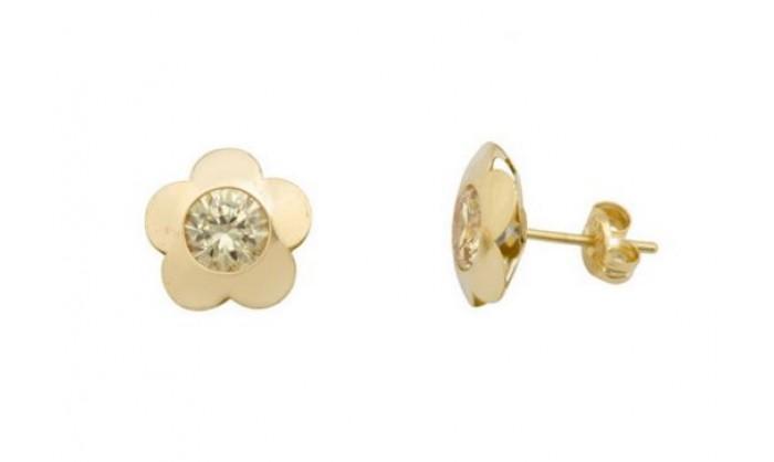 Pendientes flor en Oro 18 Kl con piedra 212_55857-P/A/OL