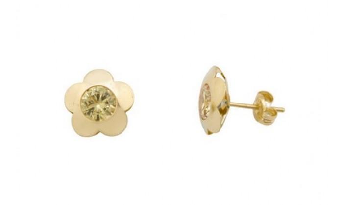 Pendientes flor en Oro 18 Kl con piedra 212_55857-P/A/TO