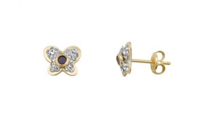 Pendientes mariposa en oro con Swarovski 212_55860-P/A/ZA-CI