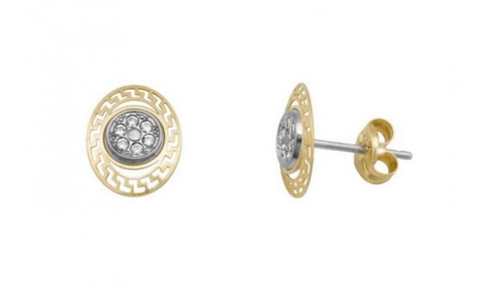 Pendientes ovalados en Oro con circonitas 212_55865-P/X/NG