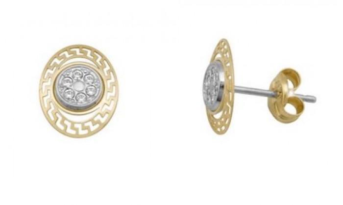 Pendientes ovalados en Oro con circonitas 212_55865-P/X/CI