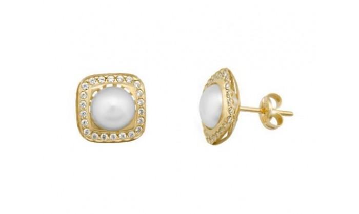Pendientes cuadrados en Oro con circonitas y perla 212_55878-P/A/PE-CI