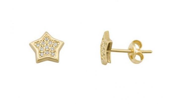 Pendientes estrella en Oro con circonitas 212_55879-P/A/CI