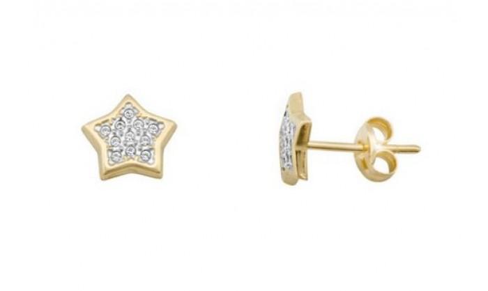 Pendientes estrella en Oro con circonitas 212_55879-P/X/CI