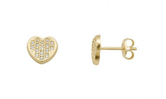 Pendientes corazón en Oro con circonitas 212_55880-P/A/CI