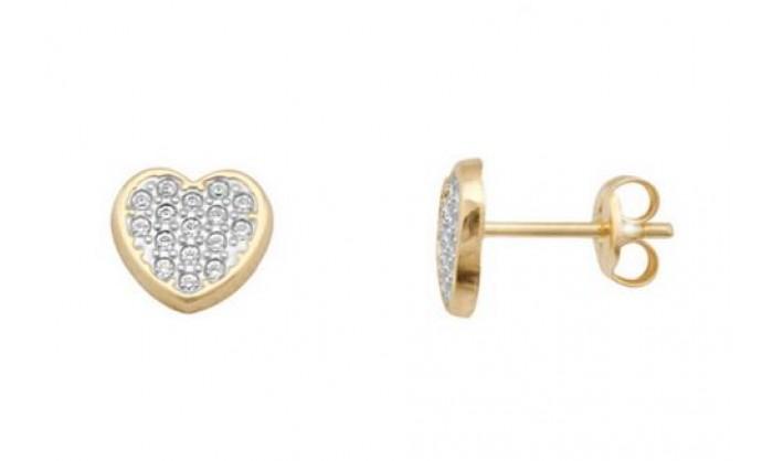 Pendientes corazón en Oro con circonitas 212_55880-P/X/CI