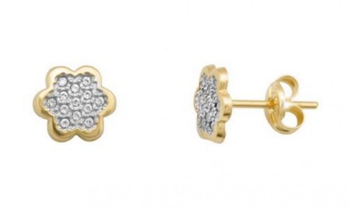 Pendientes flor en Oro con circonitas 212_55881-P/X/CI