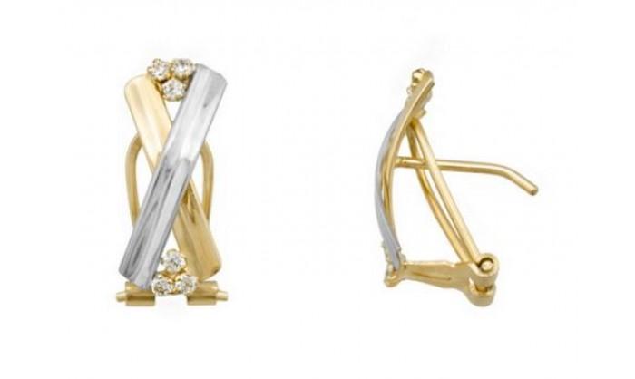 Pendientes 2 bandas cruzadas en Oro con circonitas 212_55883-P/X/CI