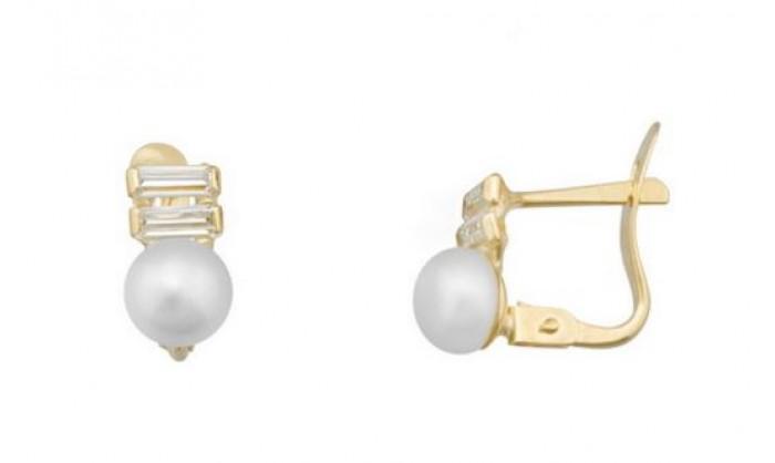 Pendientes 2 bandas en Oro con perla 212_55885-P/A/PE-CI